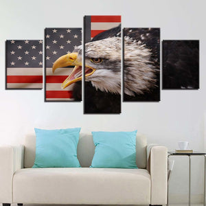 American Eagle 5 Piece HD Multi Panel Canvas Wall Art Frame