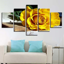 Fallen Yellow Rose 5 Piece HD Multi Panel Canvas Wall Art Frame