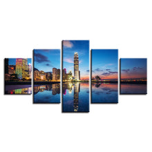 City Lights Reflection 5 Piece HD Multi Panel Canvas Wall Art Frame