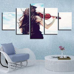 Girl & The Violin 5 Piece HD Multi Panel Canvas Wall Art Frame