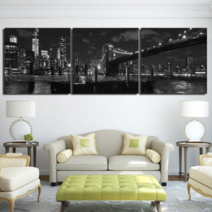 Brooklyn Bridge 3 Piece HD Multi Panel Canvas Wall Art Frame