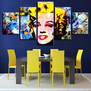 Marilyn Monroe Abstract 5 Piece HD Multi Panel Canvas Wall Art Frame