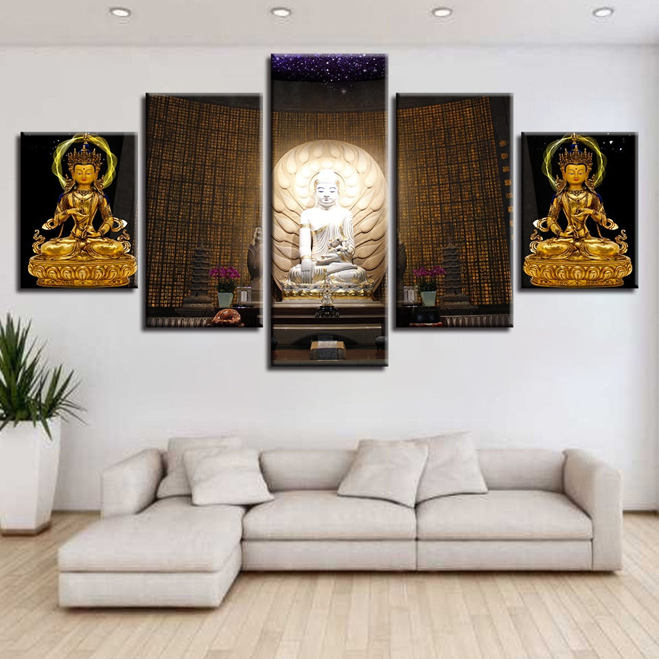 Buddha Statue Trio  Piece HD Multi Panel Canvas Wall Art Frame