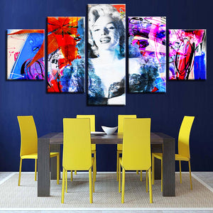 Marilyn Monroe Abstract Painting 5 Piece HD Multi Panel Canvas Wall Art Frame