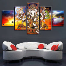 Hindu Lord Ganesha 5 Piece HD Multi Panel Canvas Wall Art Frame