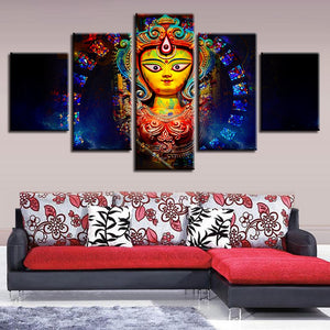Goddess Durga 5 Piece HD Multi Panel Canvas Wall Art Frame