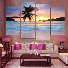Tropical Sunset 4 Piece HD Multi Panel Canvas Wall Art Frame