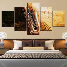 Saxophone Notes 5 Piece HD Multi Panel Canvas Wall Art Frame