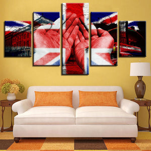 British Flag And Hand Building 5 Piece HD Multi Panel Canvas Wall Art Frame