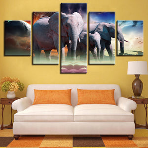 Wild Elephant Pack 5 Piece HD Multi Panel Canvas Wall Art Frame