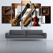 Guitar Saxophone Violin 5 Piece HD Multi Panel Canvas Wall Art Frame