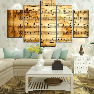 Music Score Notation 5 Piece HD Multi Panel Canvas Wall Art Frame