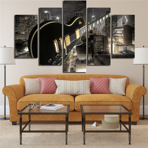 Guitar And City 5 Piece HD Multi Panel Canvas Wall Art Frame