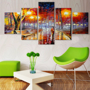 Woman In The Rain And Tree Scenery 5 Piece HD Multi Panel Canvas Wall Art Frame
