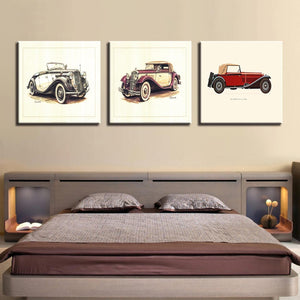 Vintage Car Poster 3 Piece HD Multi Panel Canvas Wall Art Frame