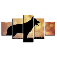 Dog Silhouette 5 Piece HD Multi Panel Canvas Wall Art Frame