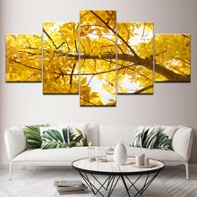 Golden Tree Branch 5 Piece HD Multi Panel Canvas Wall Art Frame