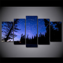 Peaceful Blue Night Sky 5 Piece HD Multi Panel Canvas Wall Art Frame