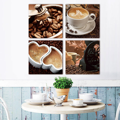 Heart Coffee 4 Piece HD Multi Panel Canvas Wall Art Frame