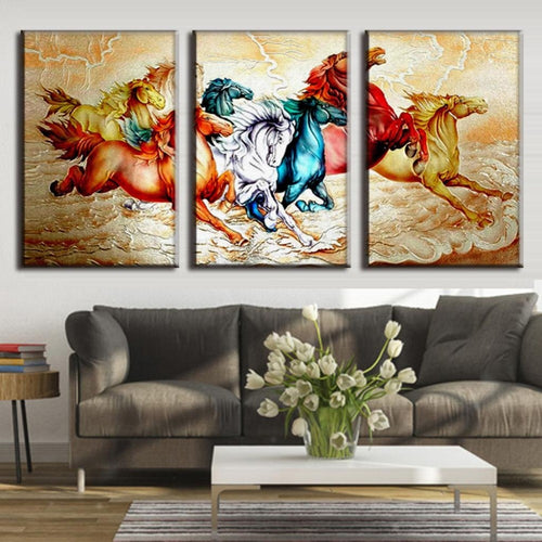 Horse Painting 3 Piece HD Multi Panel Canvas Wall Art Frame