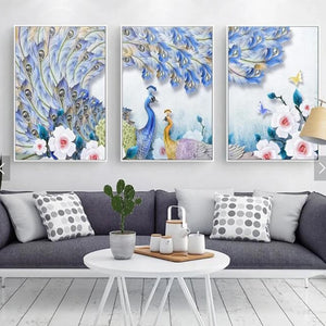 Nature Peacock 3 Piece HD Multi Panel Canvas Wall Art Frame