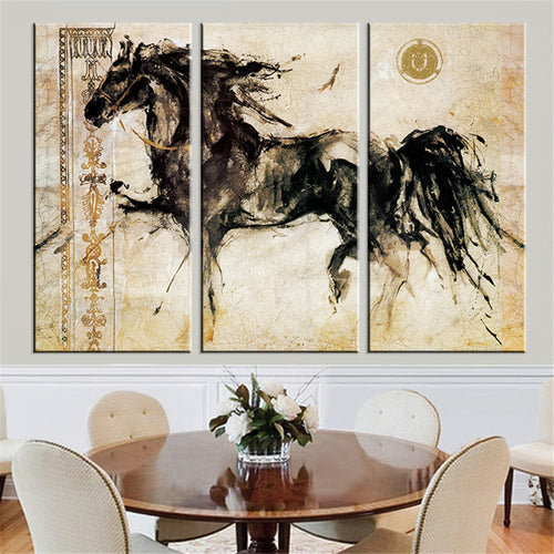 Pentium Horse Painting 3 Piece HD Multi Panel Canvas Wall Art Frame