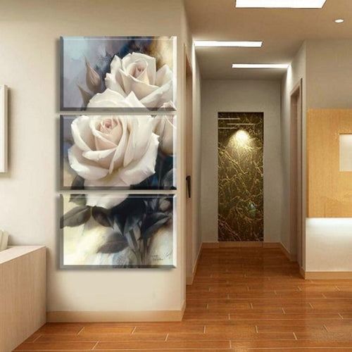 Luxury Rose Flowers 3 Piece HD Multi Panel Canvas Wall Art Frame