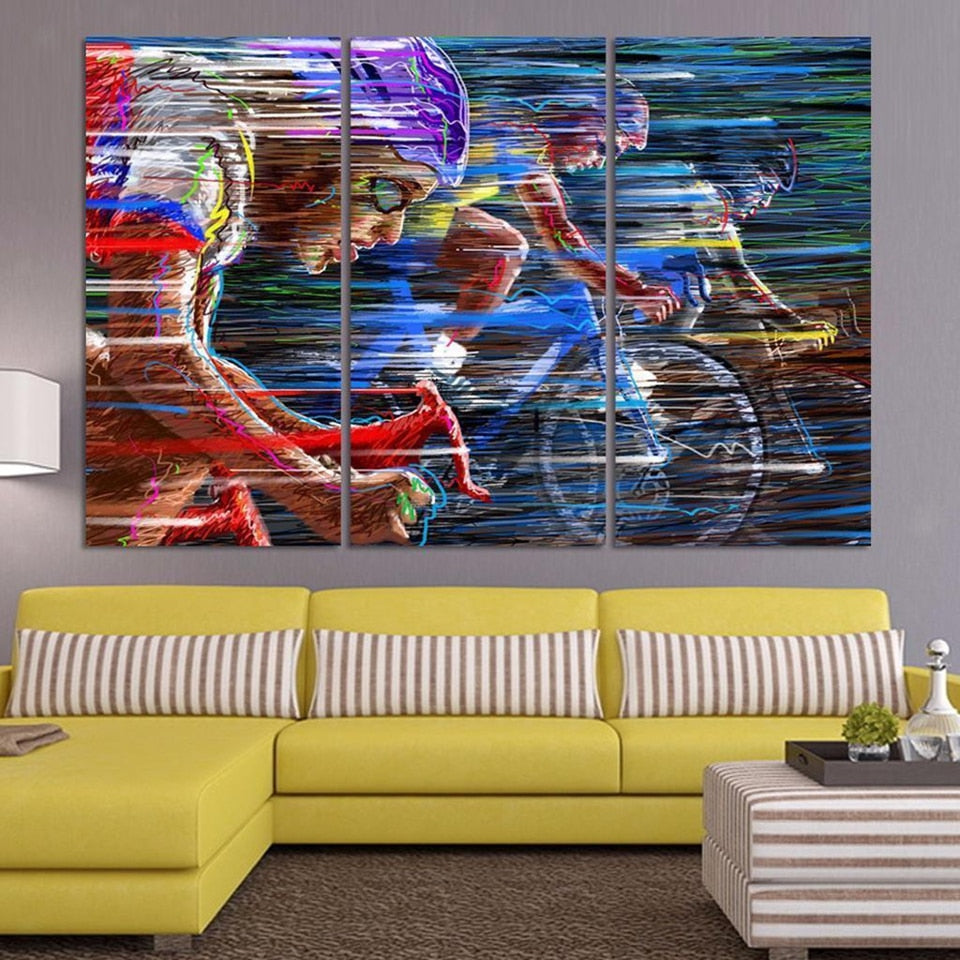 Bicycle Sport 3 Piece HD Multi Panel Canvas Wall Art Frame