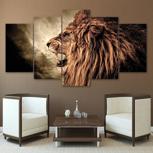 Grand Lion Howl 5 Piece HD Multi Panel Canvas Wall Art Frame