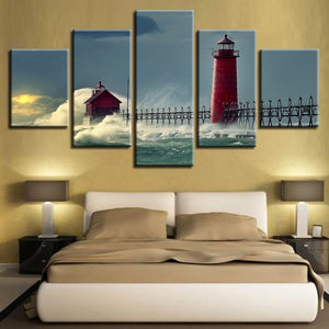 Lighthouse Seascape 5 Piece HD Multi Panel Canvas Wall Art Frame