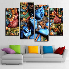 Lord Krishna 4 Piece HD Multi Panel Canvas Wall Art Frame