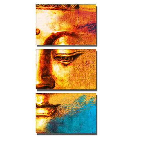 Buddha Face Print in Yellow 3 Piece HD Multi Panel Canvas Wall Art Frame