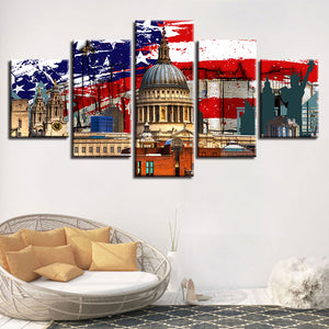 White House 5 Piece HD Multi Panel Canvas Wall Art Frame