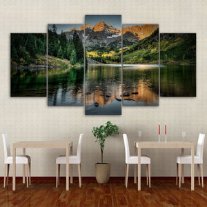 Mountain Lake Tree 5 Piece HD Multi Panel Canvas Wall Art Frame