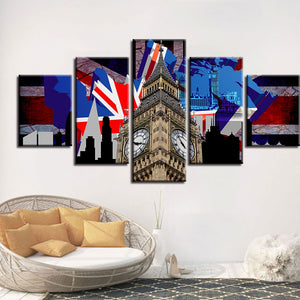 The Great London 5 Piece HD Multi Panel Canvas Wall Art Frame