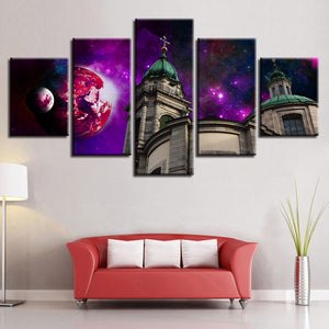 Church 5 Piece HD Multi Panel Canvas Wall Art Frame