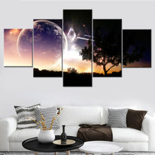 Beautiful Space Poster Canvas 5 Piece HD Multi Panel Canvas Wall Art Frame
