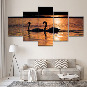 Swans in Sunset 5 Piece HD Multi Panel Canvas Wall Art Frame