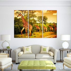 Giraffe Painting 3 Piece HD Multi Panel Canvas Wall Art Frame