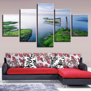The Sea Green Scenery 5 Piece HD Multi Panel Canvas Wall Art Frame