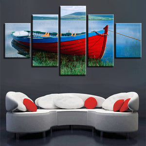 Ship River Mountain Scenery 5 Piece HD Multi Panel Canvas Wall Art Frame