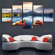 Mountain Lake And Boat 5 Piece HD Multi Panel Canvas Wall Art Frame