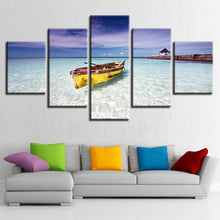 Beach Ocean And Boat 5 Piece HD Multi Panel Canvas Wall Art Frame
