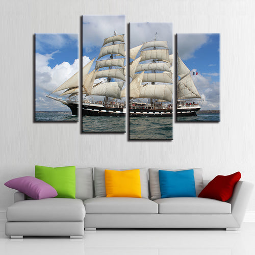 Sailboat 4 Piece HD Multi Panel Canvas Wall Art Frame