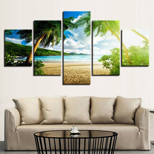 Sunny Seascape 5 Piece HD Multi Panel Canvas Wall Art Frame