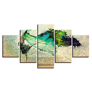 Green Ballerina Girl 5 Piece HD Multi Panel Canvas Wall Art Frame