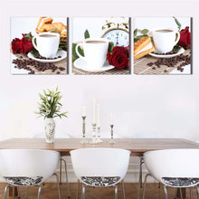 Coffee Cup Red Rose 3 Piece HD Multi Panel Canvas Wall Art Frame
