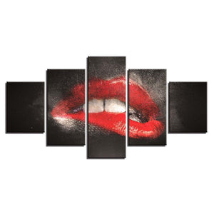 Bite Lips 5 Piece HD Multi Panel Canvas Wall Art Frame