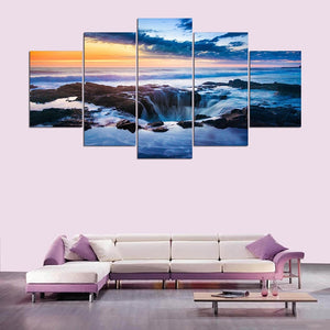 Waterfall Sunrise Scenery 5 Piece HD Multi Panel Canvas Wall Art Frame