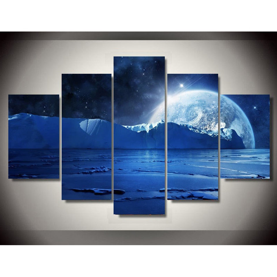 Moonlit Night in the Sea 5 Piece HD Multi Panel Canvas Wall Art Frame